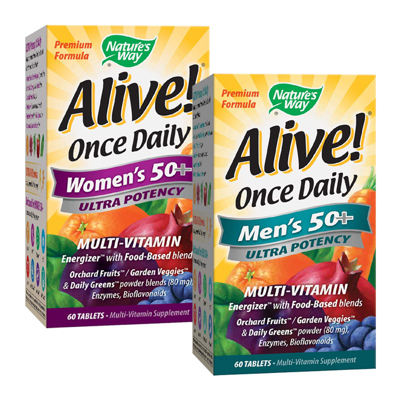 ALIVE ONCE DAILY MEN'S / WOMEN'S 50+ 60TABS (DOUBLE STACK)